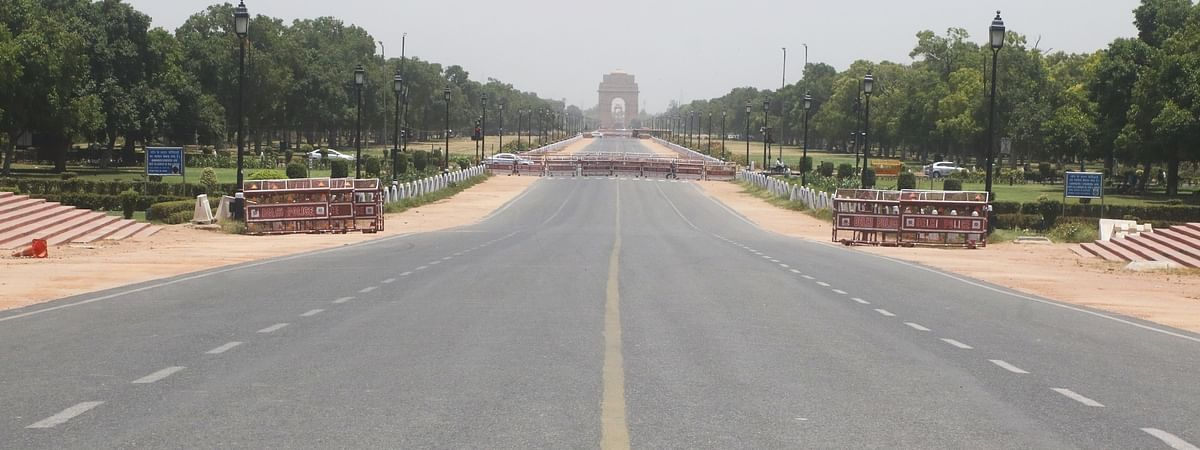India Gate in New Delhi wears a deserted look on a hot sunny day during the fourth phase of the nationwide lockdown imposed to mitigate the spread of coronavirus, on May 27, 2020.