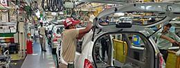 The Toyota Kirloskar Motor Assembly shop in Bidadi, Bangalore