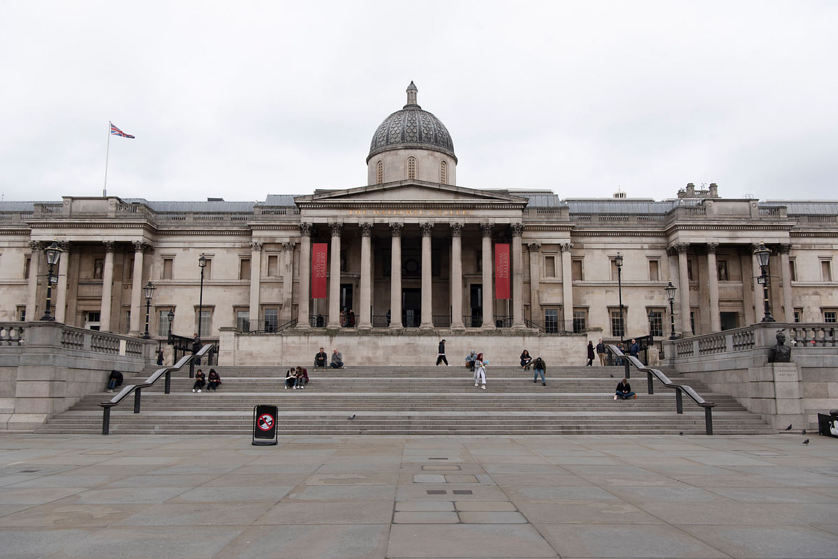The National Gallery and Trafalgar Square are seen with a few visitors in London, Britain, on March 17, 2020.