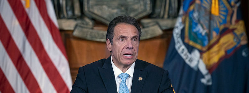 New York Governor Andrew M Cuomo addressing a press conference in New York on May 15, 2020.