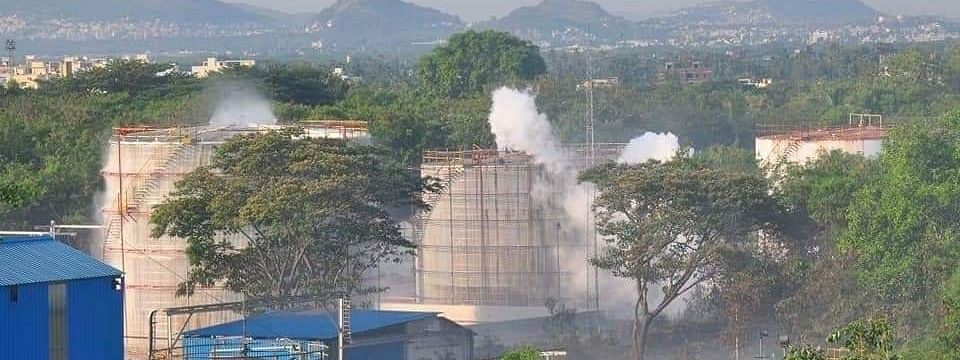 A view of the LG Polymers factory at RR Venkatapuram near Gopalapatnam in Visakhapatnam, Andhra Pradesh, where a gas leak left several people dead and scores of others hospitalised, on May 7, 2020.