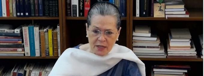 Congress President Sonia Gandhi interacting with Chief Ministers of Congress-ruled States and other party leaders on the COVID-19 situation, via video conference, in New Delhi on May 6, 2020.