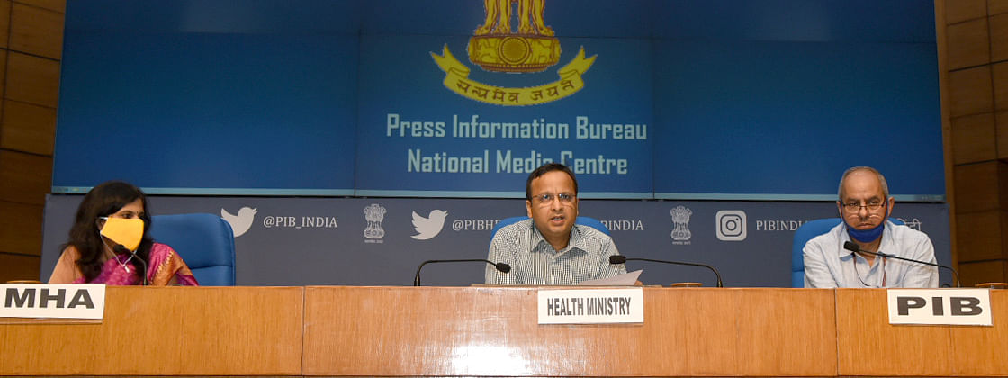 Luv Agarwal, Joint Secretary, Ministry of Health & Family Welfare, speaking at a media briefing on COVID-19, in New Delhi on May 8, 2020. Principal Director General (M&C), Press Information Bureau, K. S. Dhatwalia and Joint Secretary, Ministry of Home Affairs Punya Salila Srivastava are also seen.