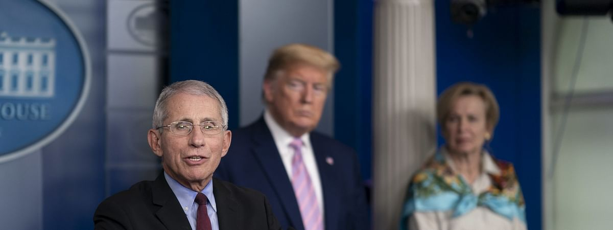 File photo of US President Donald Trump (centre)with Anthony Fauci (left) and Deborah Birx (right), members of the White House Coronavirus Task Force, at a news conference on April 4, 2020, in Washington.