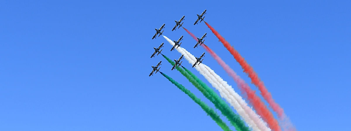 Italy's Frecce Tricolori aerobatic squad performing over Milan, Italy, on May 25, 2020. The squad started on Monday a series of shows across Italy for the 74th anniversary of the Republic Day and as a sign of unity and solidarity amidst the COVID-19 pandemic.