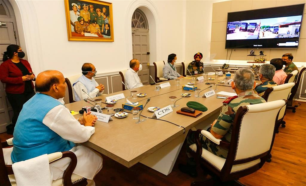 Defence Minister Rajnath Singh inaugurating the 80-km-long crucial road from Ghatiabgarh to Lipulekh, vastly reducing travel time for Kailash-Manasarovar yatra, through video-conferencing, in New Delhi on May 8, 2020.