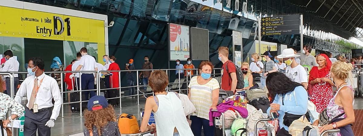 Russian tourists, who had got stuck in Kerala and neighbouring states due to the nationwide lockdown imposed to contain the spread of the coronavirus outbreak, leaving for Moscow from Thiruvananthapuram, on May 21, 2020.