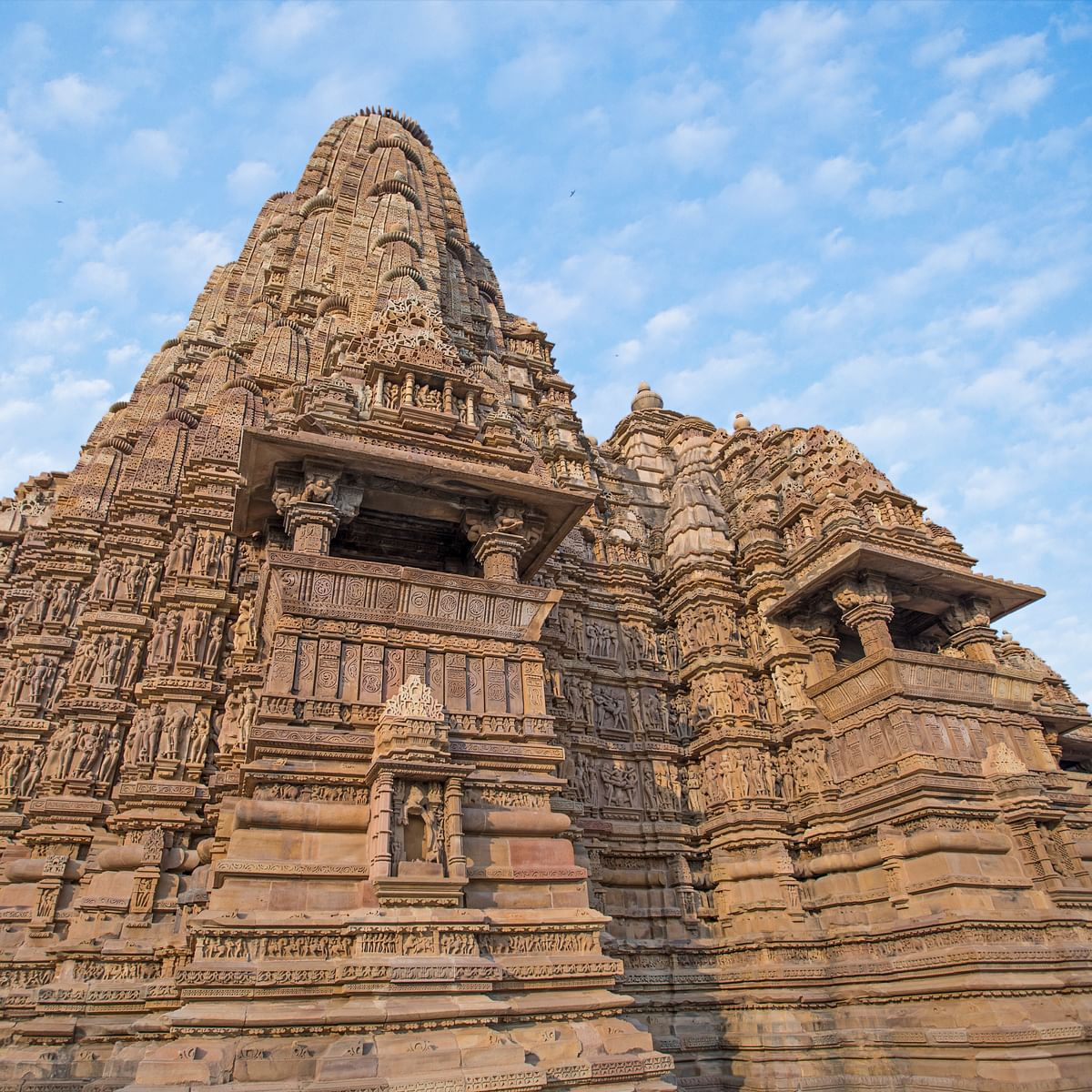 The Kandariya Mahadeva Temple, the largest and most ornate temple in the medieval temple group found at Khajuraho in Madhya Pradesh.