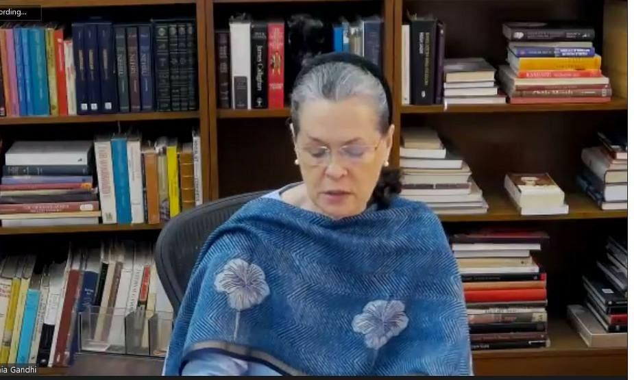 Congress President Sonia Gandhi addressing a virtual meeting of the Congress Working Committee in New Delhi on June 23, 2020.