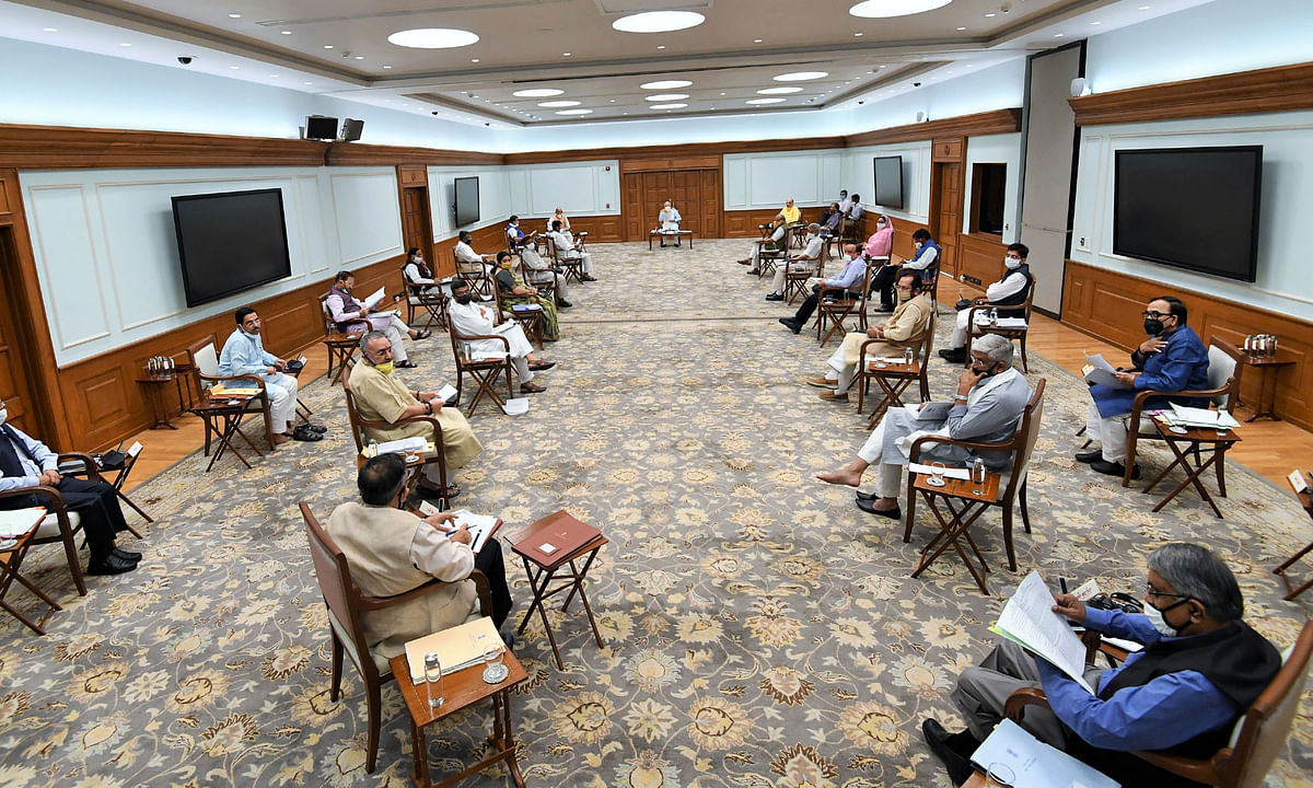 Prime Minister Narendra Modi chairing a meeting of the Union Cabinet, in New Delhi, on June 1, 2020.