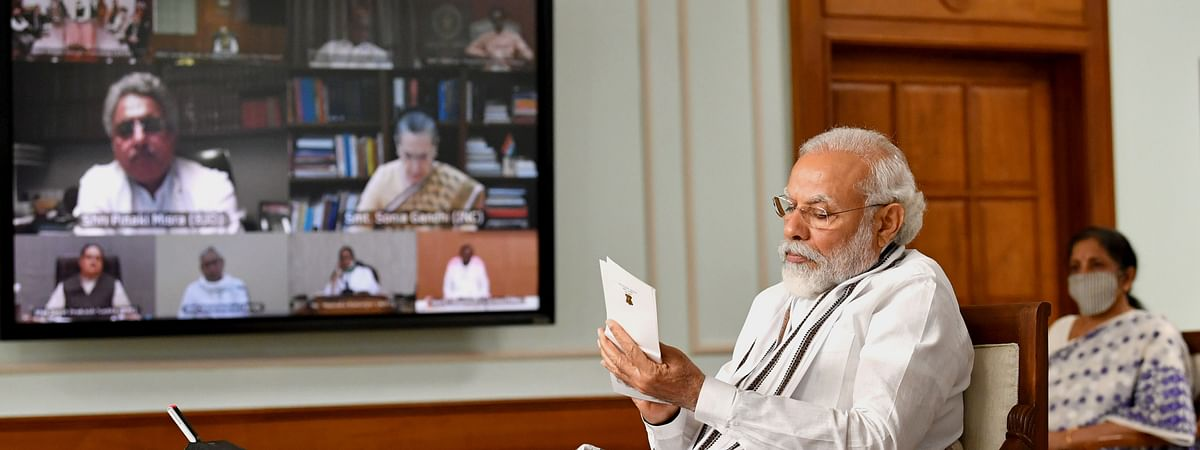 Prime Minister Narendra Modi at an all-party meeting on the situation on the India-China border areas, via video conference, in New Delhi on June 19, 2020.