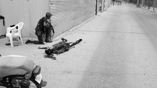 The scene outside the Pakistan Stock Exchange in which four terrorists killed five people before being gunned down by law enforcement agencies, in Karachi on June 29, 2020.
