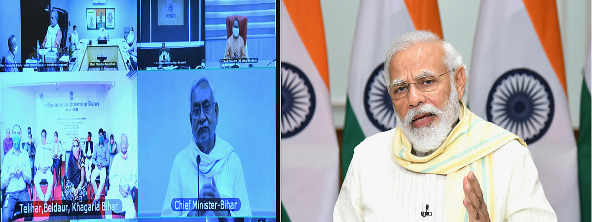 Prime Minister Narendra Modi speaking at the launch of the Garib Kalyan Rojgar Abhiyaan through video-conferencing, in New Delhi on June 20, 2020.