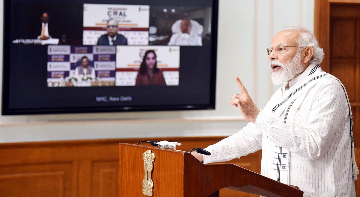 Prime Minister Narendra Modi speaking at the launch of the auction process of coal blocks for commercial mining through video conference, in New Delhi on June 18, 2020.