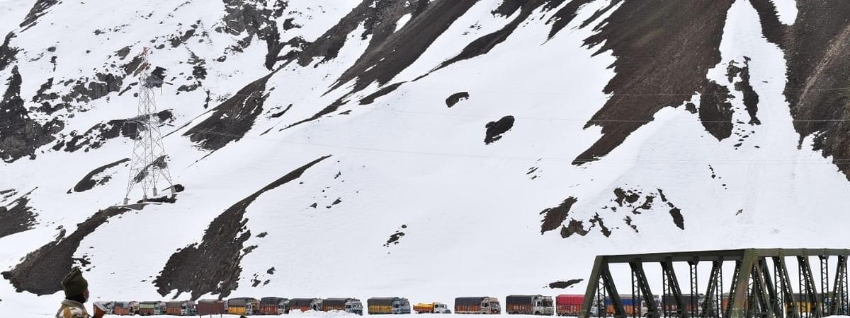 File photo of ITBP personnel escorting 900 supply trucks to Kargil from Zoji La in Ladakh.