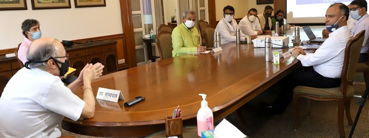 Delhi Lt. Governor Anil Baijal presiding over a meeting with all political parties to discuss the present situation of COVID-19 in the national capital and measures to contain its spread, in New Delhi on June 9, 2020.
