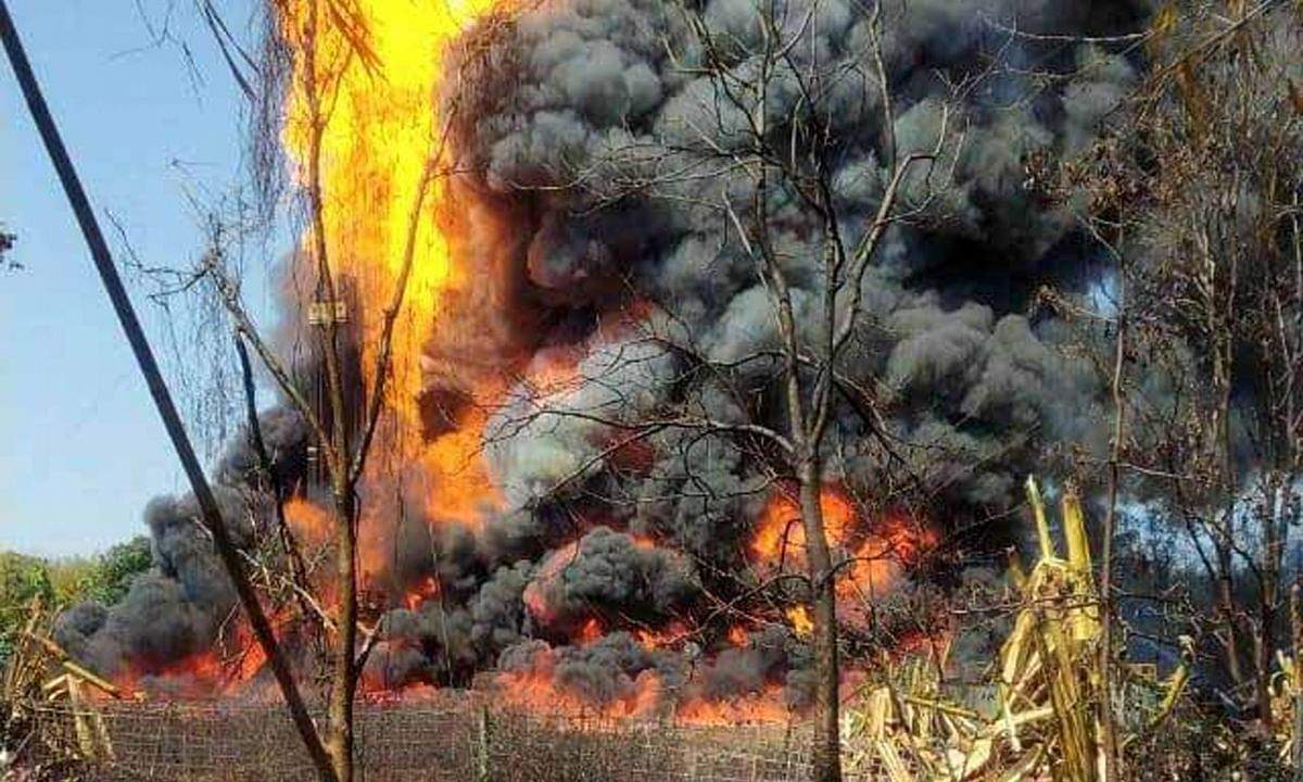 A massive fire engulfed a gas well in Baghjan area of Assam's Tinsukia a week after a blowout, on June 9, 2020.