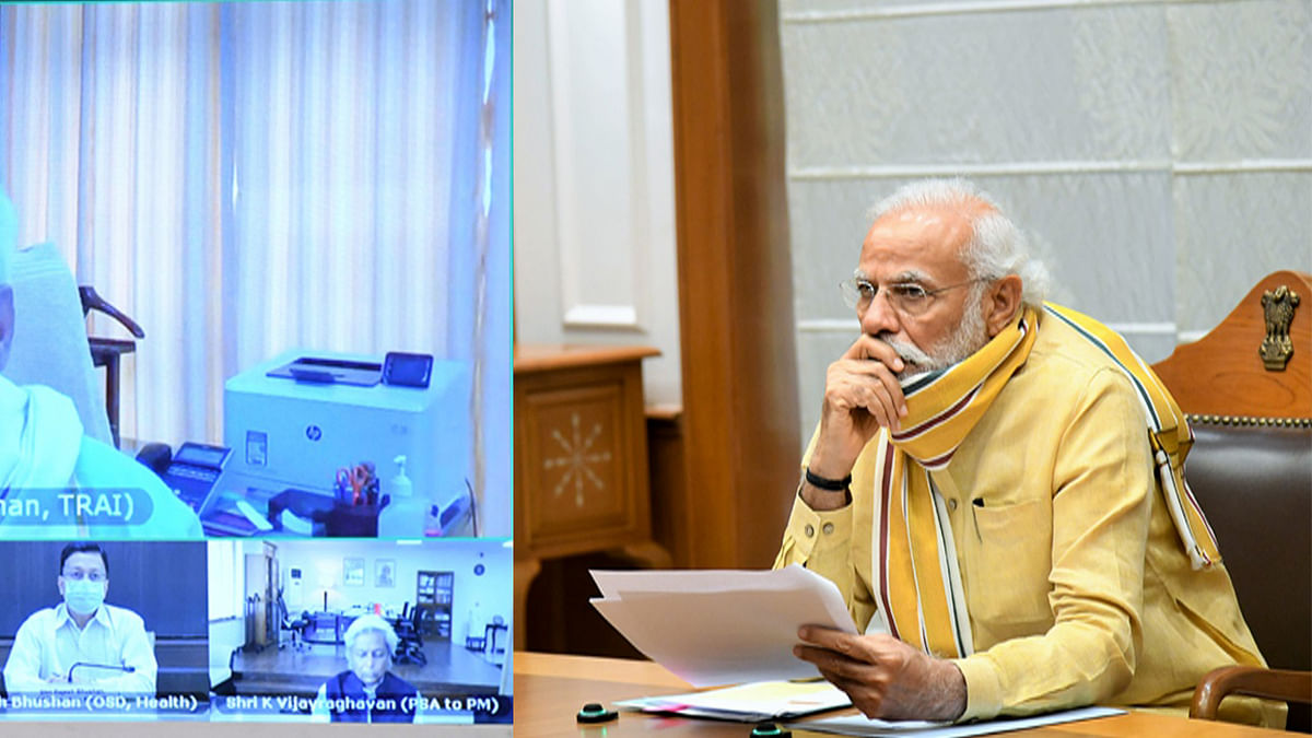 Prime Minister Narendra Modi chairing a meeting to review the planning and preparations for vaccination against Covid-19, through video conferencing, in New Delhi on June 30, 2020.