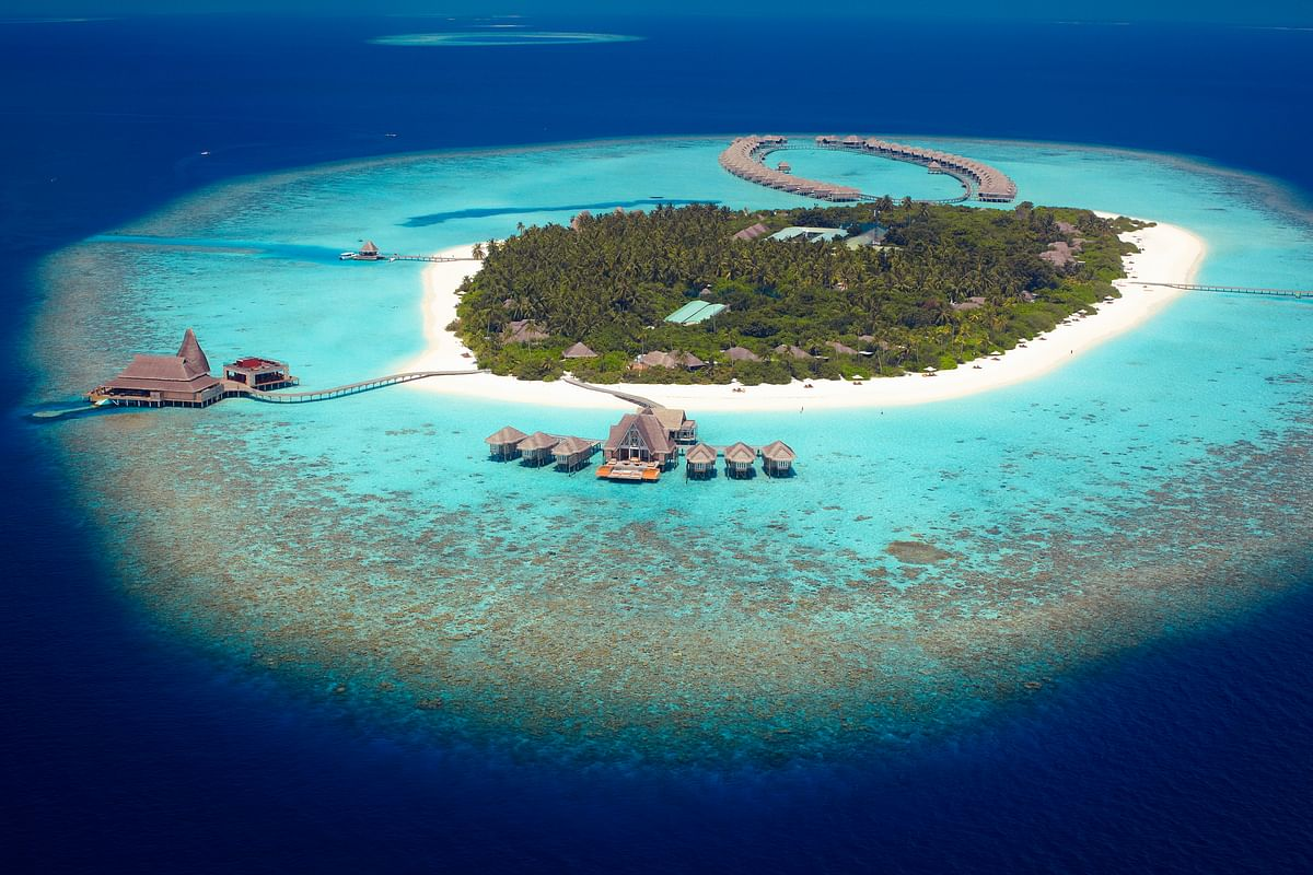 The Anantara Kihavah Maldives Villas, located on the Baa Atoll in a UNESCO Biosphere Reserve in the Maldives