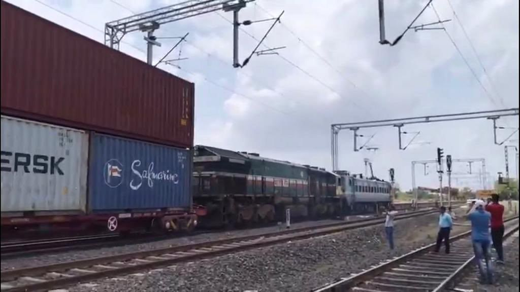 Railways create new world mark with first Double Stack Container Train in high-rise OHE electrified sections