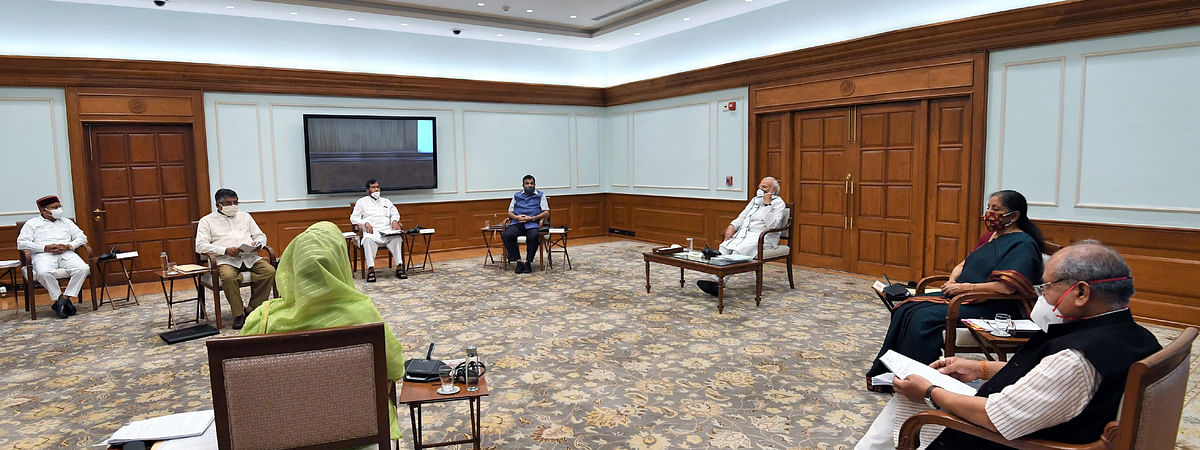 Prime Minister Narendra Modi chairing a meeting of the Union Cabinet in New Delhi on June 3, 2020.