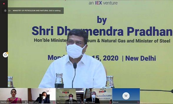 Union Petroleum & Natural Gas Minister Dharmendra Pradhan inaugurating the Indian Gas Exchange in New Delhi on June 15, 2020.