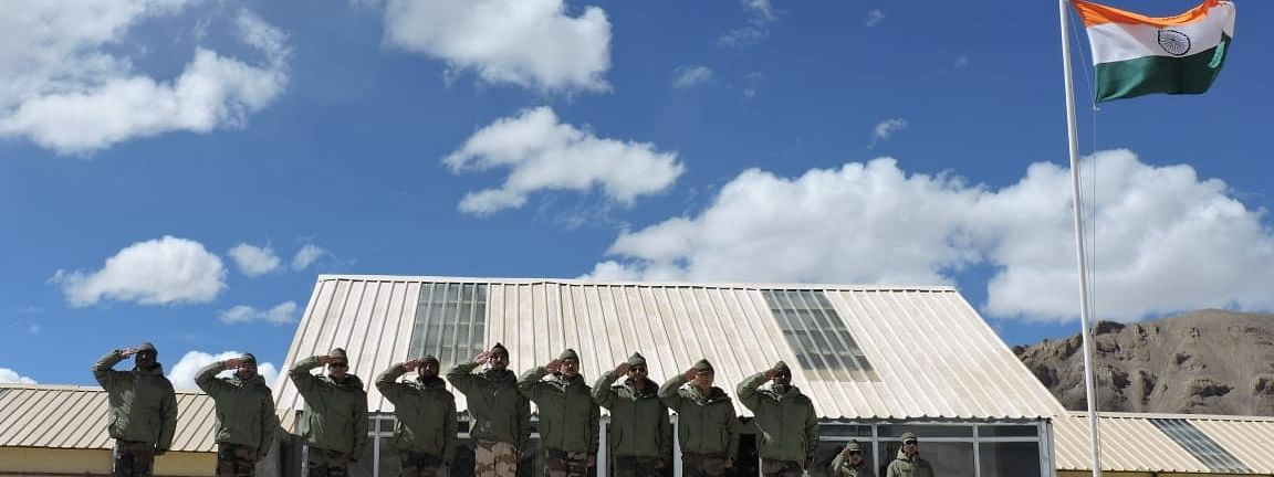 A view of the Border Personnel Meeting (BPM) Huts at Chushul-Moldo in Ladakh.