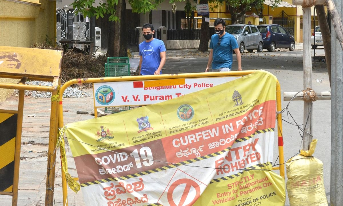 VV Puram Road, declared as one of the COVID-19 containment zones in Bengaluru, sealed by the district administration, on June 3, 2020.
