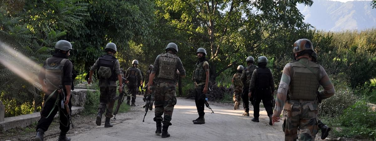 File photo of security personnel carrying out search operations in Jammu and Kashmir