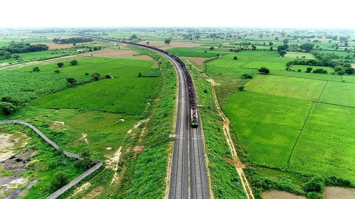A view of the first heavy haul train run on Eastern Dedicated Freight Corridor's 194-km Bhadan-Khurja section on September 14, 2019.