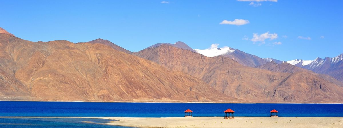 A view of Pangong Lake, situated on the India-China border in Jammu and Kashmir at a height of about 14,270 feet