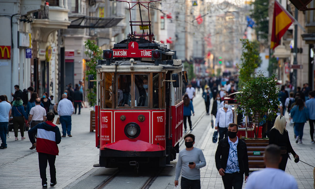 Tram services in central Istanbul, Turkey resuming operations on June 2, 2020 after being suspended for more than two months because of the COVID-19 pandemic.