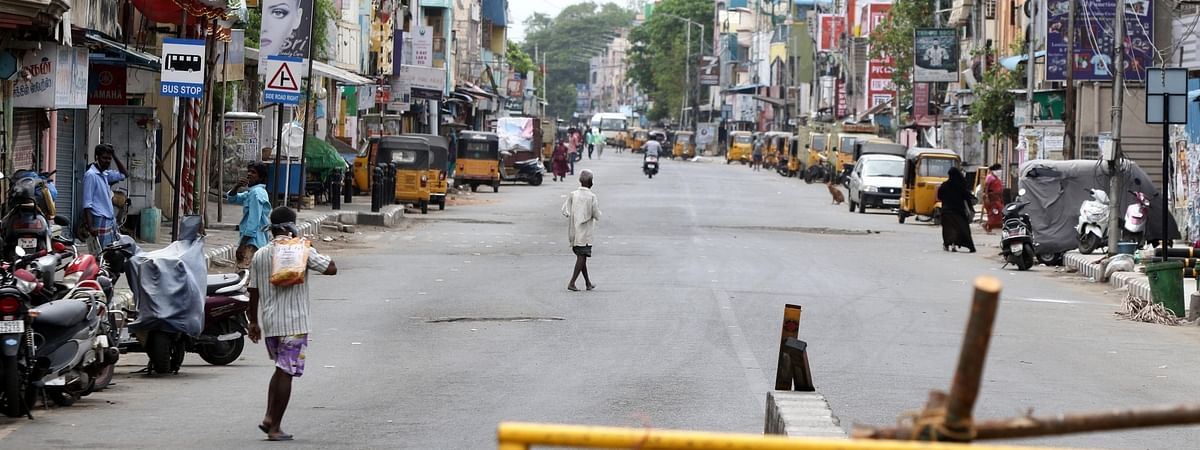 A Chennai street wears a deserted look during the 12-day intensified lockdown to contain the spread of the COVID-19 pandemic, on June 21, 2020.