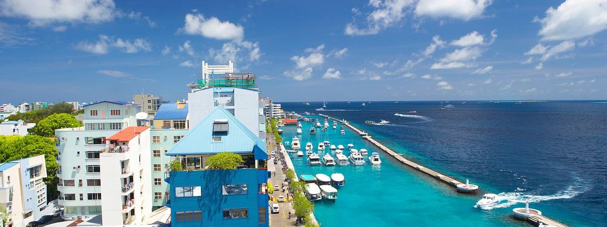 A view of the coastline of the Maldives