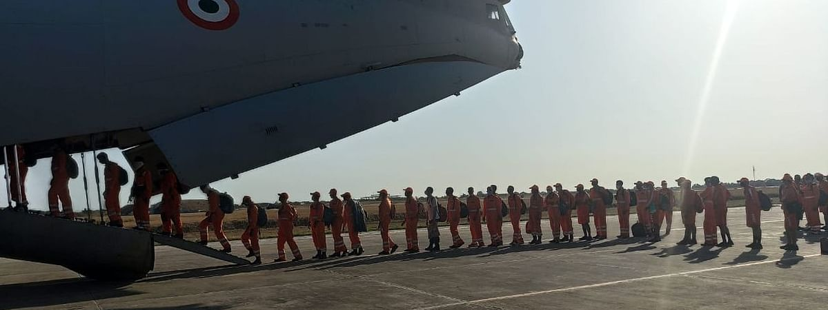 Five teams of the National Disaster Response Force (NDRF) being airlifted from Bhatinda in  Punjab to be sent to Gujarat in the wake of Cyclone Nisarga, on June 2, 2020.