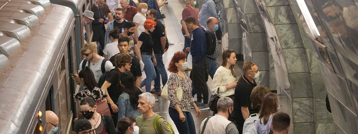 People at a subway station in Moscow, Russia, on June 23, 2020.