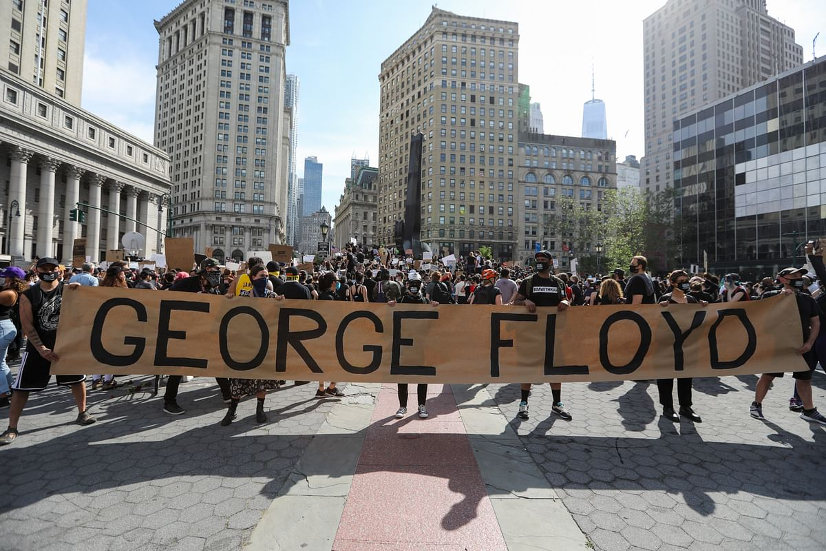 File photo of protesters holding a rally on Foley Square of lower Manhattan in New York, the United States, on May 29, 2020.