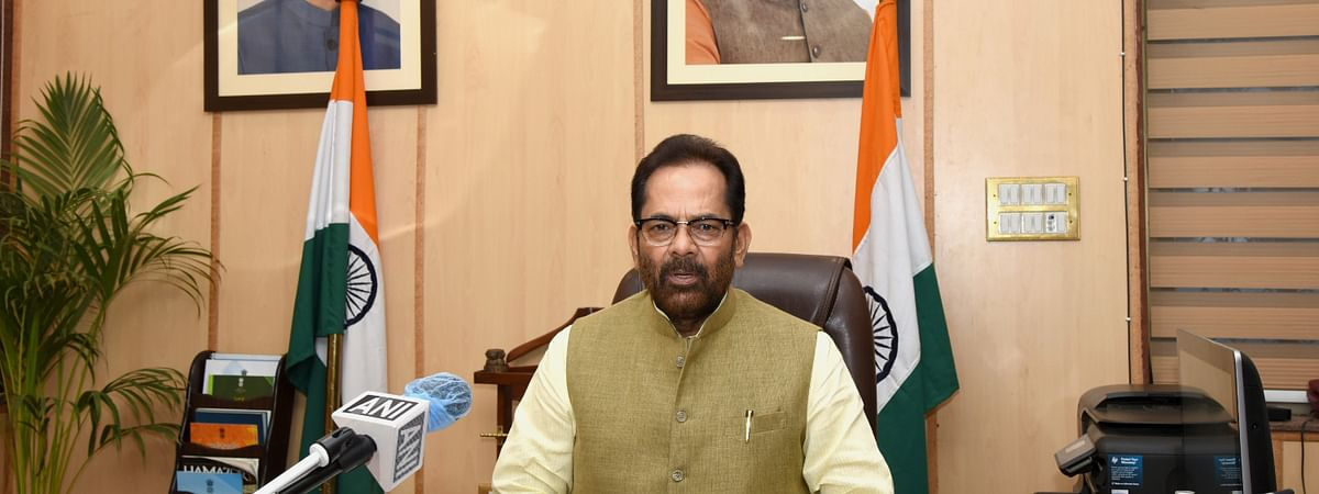 Union Minister for Minority Affairs Mukhtar Abbas Naqvi addressing a press conference in New Delhi on June 23, 2020.