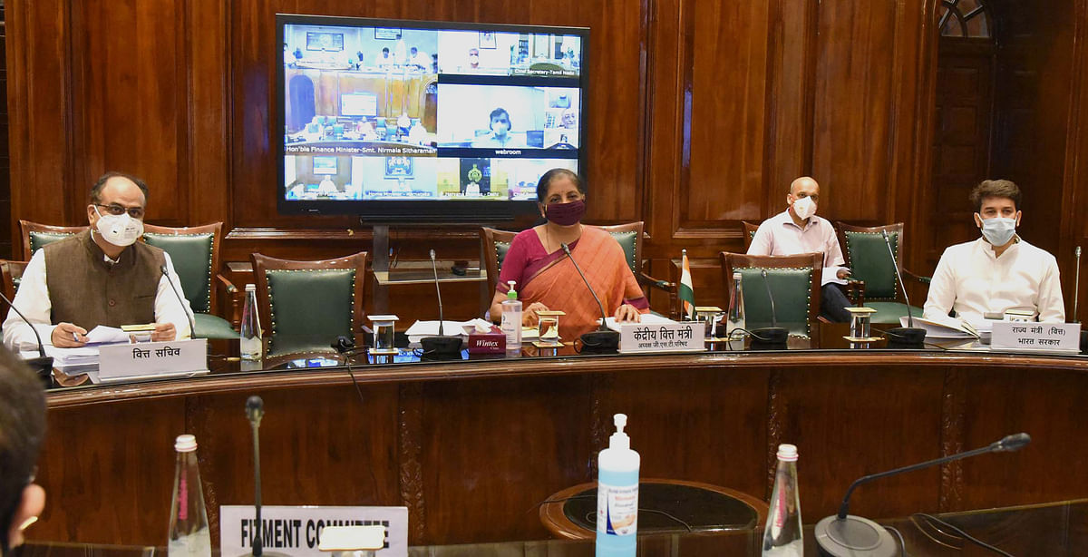 Union Finance Minister Nirmala Sitharaman chairing the 40th GST Council meeting via video conferencing, in New Delhi on June 12, 2020.