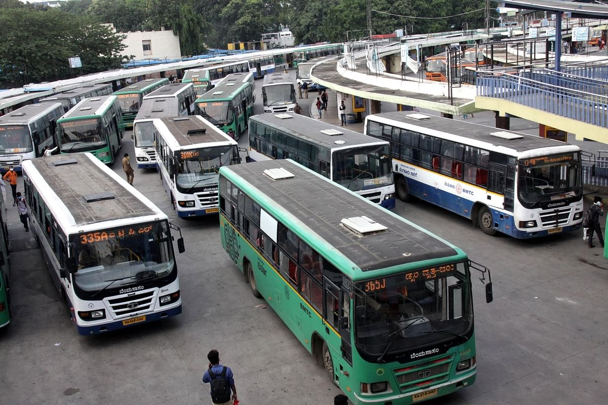 Bangalore Metropolitan Transport Corporation (BMTC) buses seen parked at a bus depot due to a drop in the demand for their services in the wake of COVID-19 during the nationwide lockdown imposed to mitigate the spread of coronavirus, in Bengaluru on May 31, 2020.