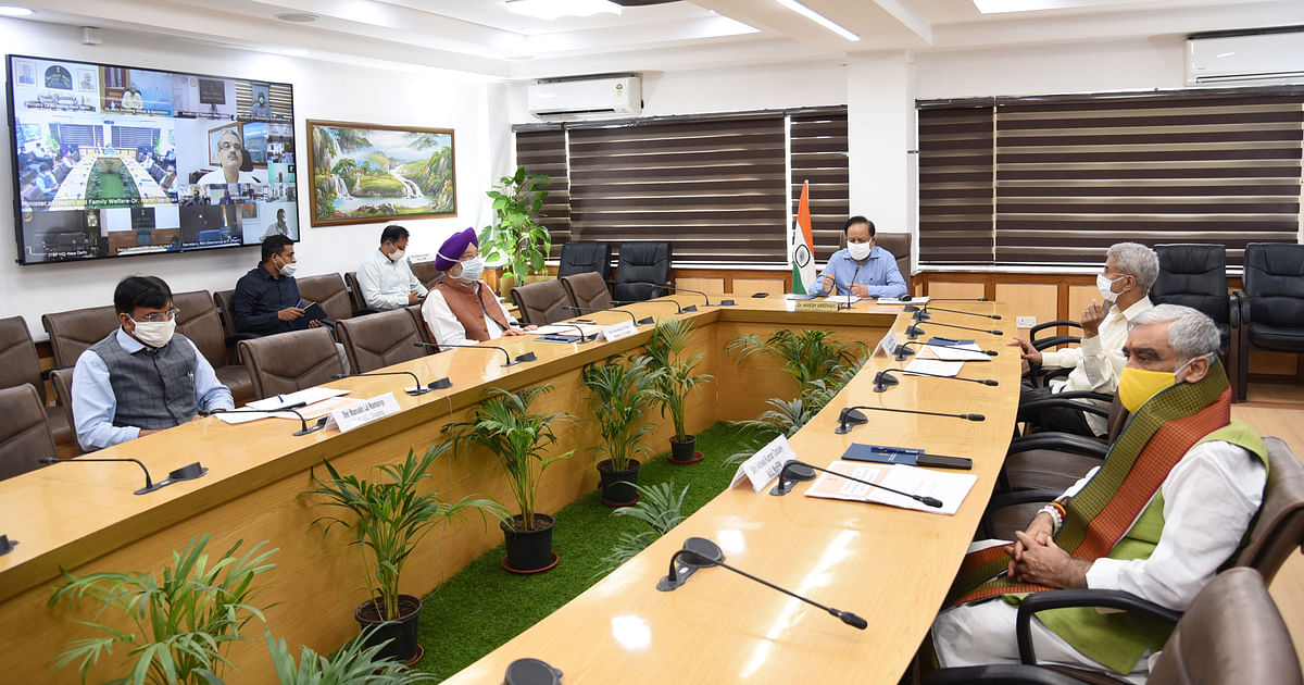 Union Minister for Health & Family Welfare Harsh Vardhan chairing the 18th meeting of the Group of Ministers on COVID-19 through video conferencing, in New Delhi on July 9, 2020.