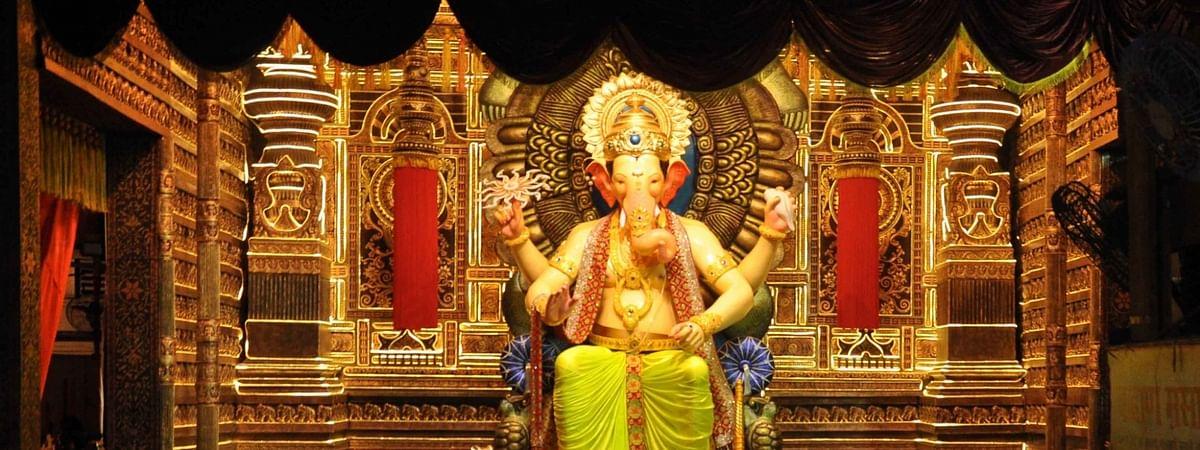 A 2017 picture of the Lalbaugcha Raja idol during Ganeshotsav celebrations in Mumbai.