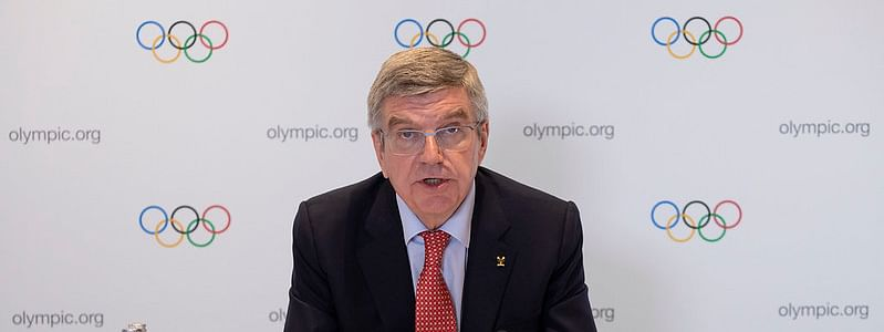 IOC President Bach Thomas addressing a press conference at the Olympic House in Lausanne, Switzerland on July 15, 2020.