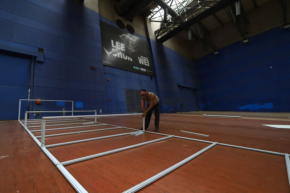Work underway at the Commonwealth Games Village (CWG) indoor stadium that is being converted into a dedicated Covid-19 care centre, in New Delhi on June 30, 2020.