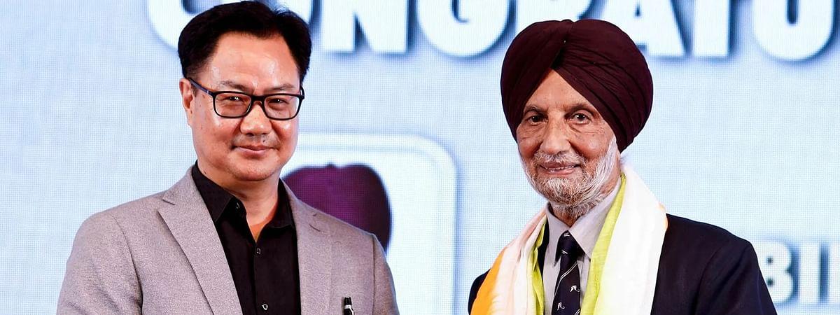 Hockey Olympian Harbinder Singh with Union Sports Minister Kiren Rijiju.