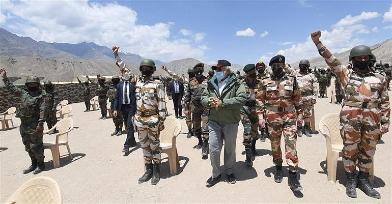 Prime Minister Narendra Modi with Indian troops at Nimu in Ladakh, on July 3, 2020.