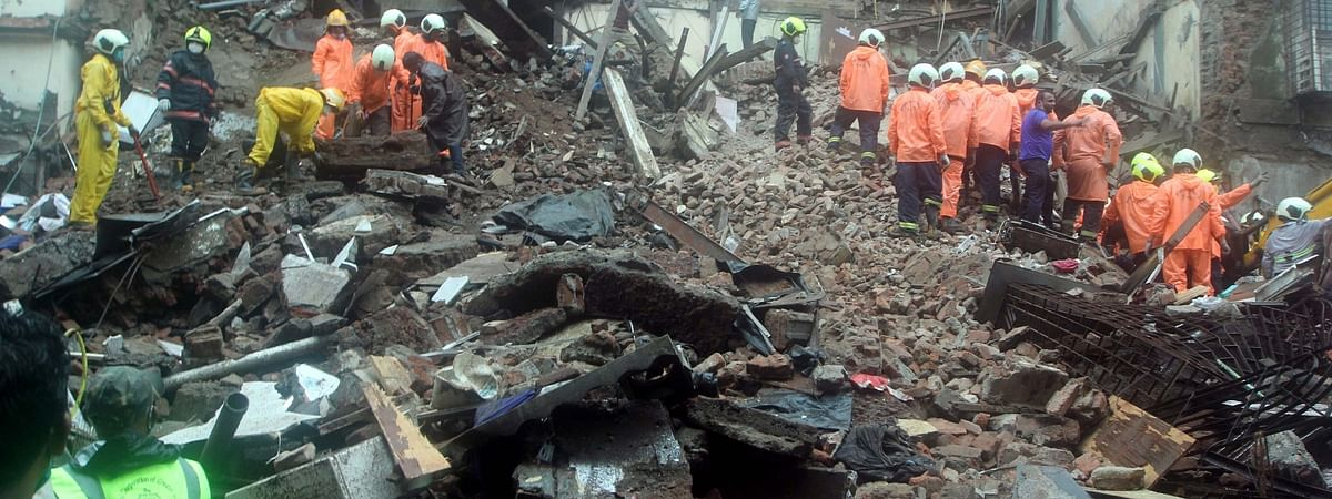 Rescue operations underway after a portion of the 80-year-old five-storeyed Bhanushali Building in Fort, near the GPO in South Mumbai collapsed killing 6 and injuring 18 persons, on July 16, 2020.
