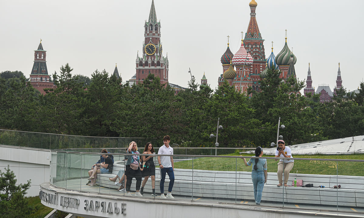 People seen at a park in Moscow, Russia, on July 8, 2020.