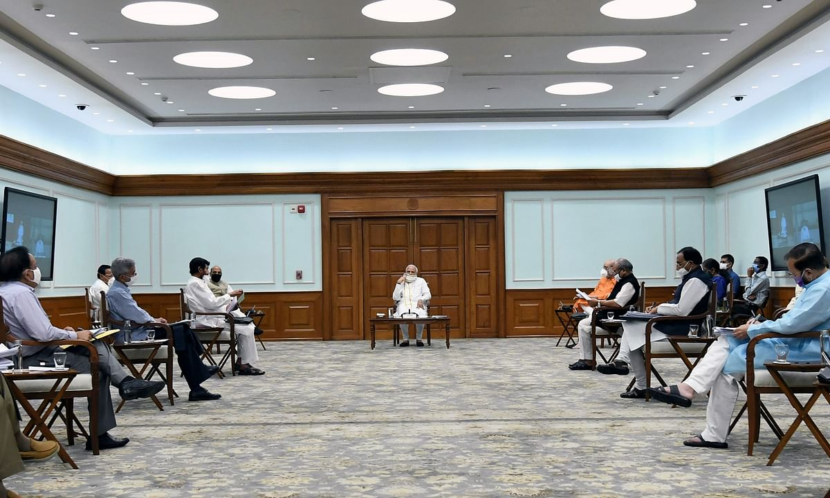 Prime Minister Narendra Modi presiding over a meeting of the Union Cabinet, in New Delhi on July 8, 2020.