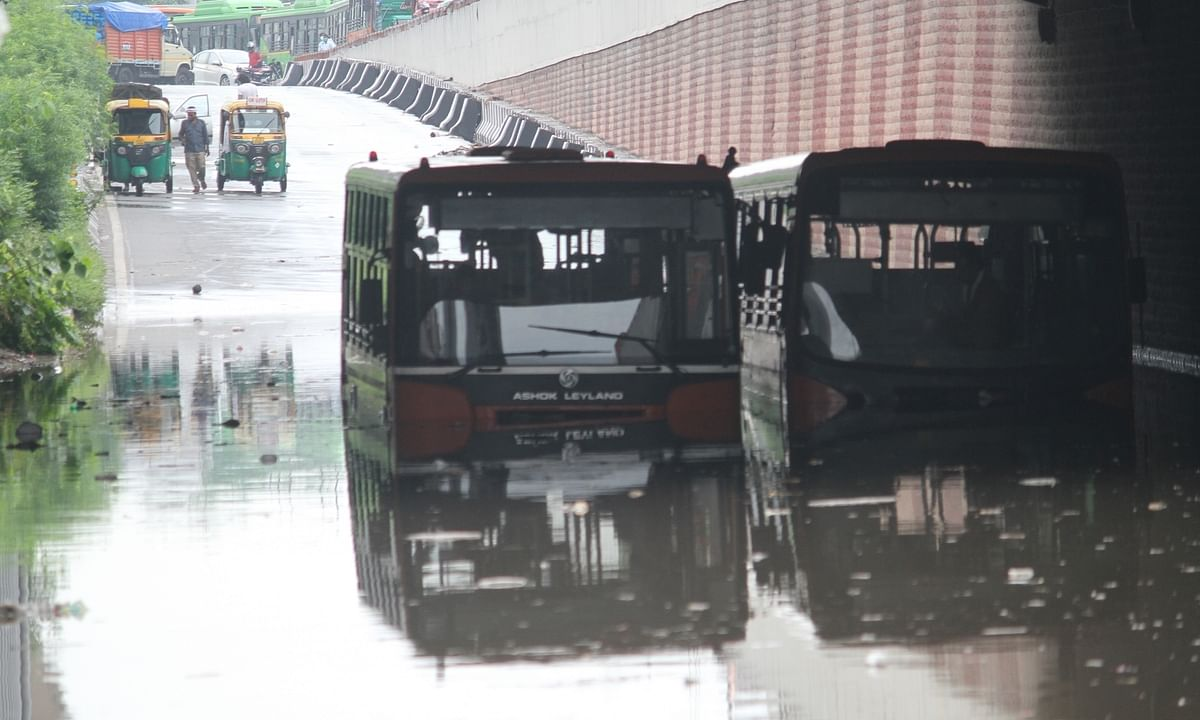 A water-logged underbridge near ITO in Delhi after heavy rains lashed the national capital on July 19, 2020